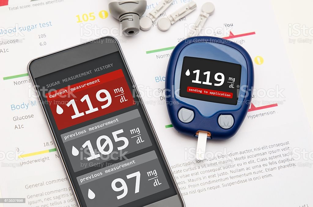 Application for diabetes on smartphone stock photo