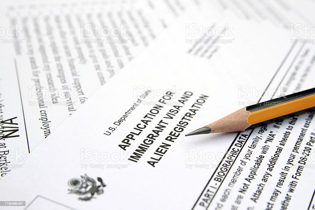 Application for immigrant visa stock photo