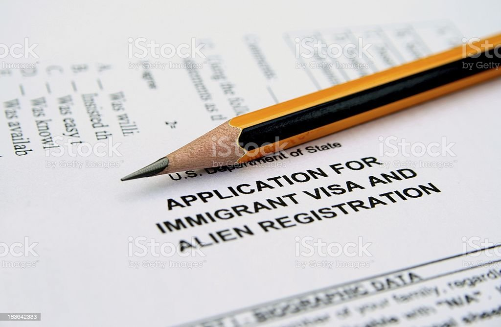 Application for immigrant visa royalty-free stock photo
