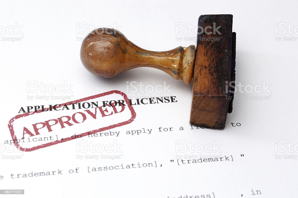Application for license stock photo