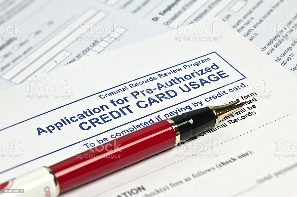 Application For Pre-Authorized Credit Card Usage stock photo