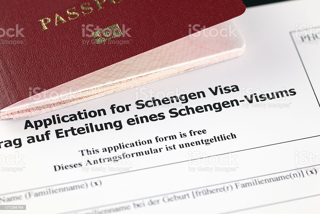 Application for Schengen visa and passport stock photo