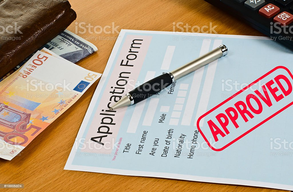 application form is on the table. stock photo
