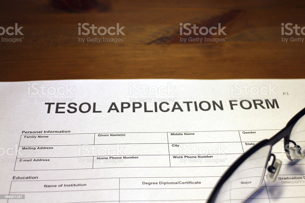 TESOL Application Form stock photo