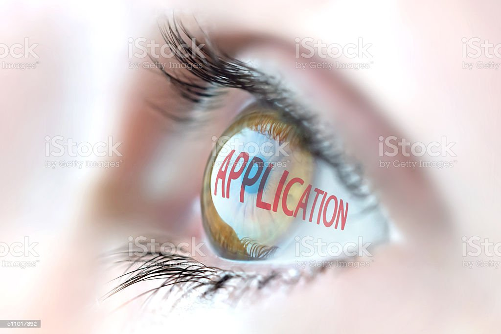 Application reflection in eye. stock photo