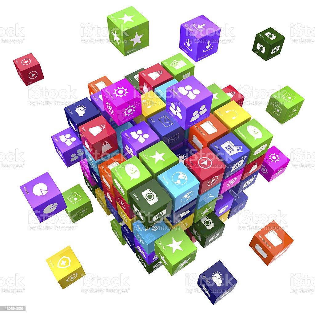 Applications and technology concept cubes stock photo