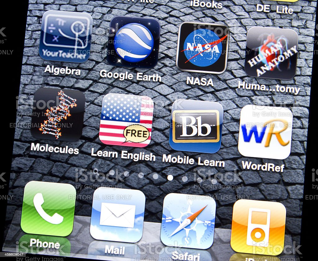 Applications of Education on Iphone 4 stock photo