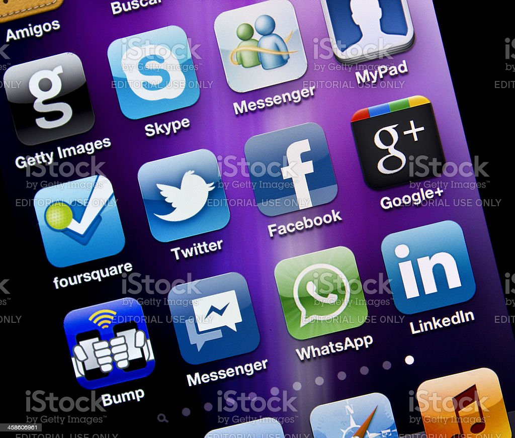 Applications of Social Media on Iphone 4S stock photo