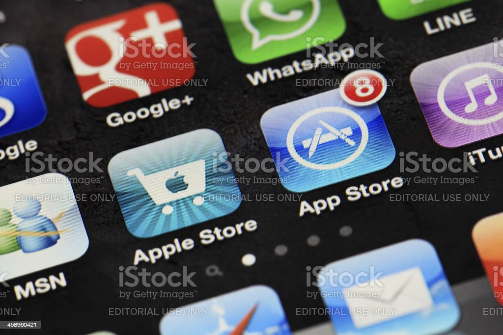 Applications on iphone stock photo
