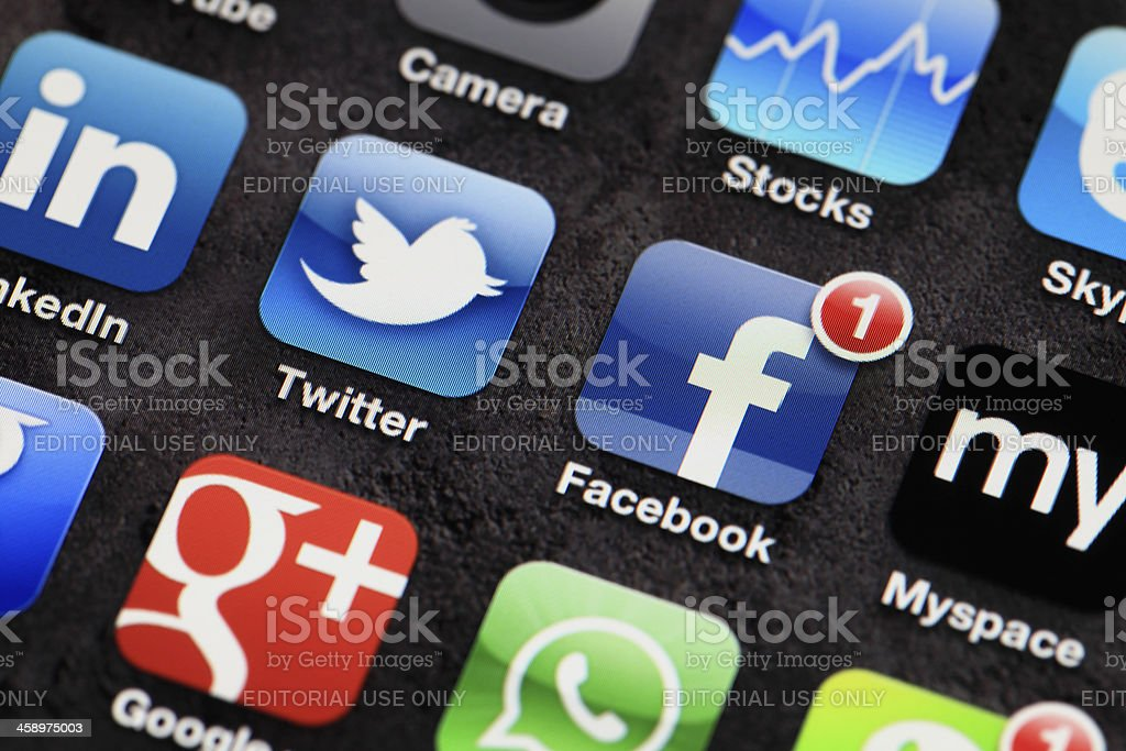 Applications on iphone royalty-free stock photo