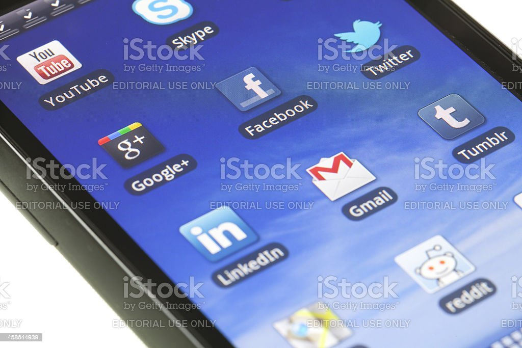 Applications on mobile device royalty-free stock photo