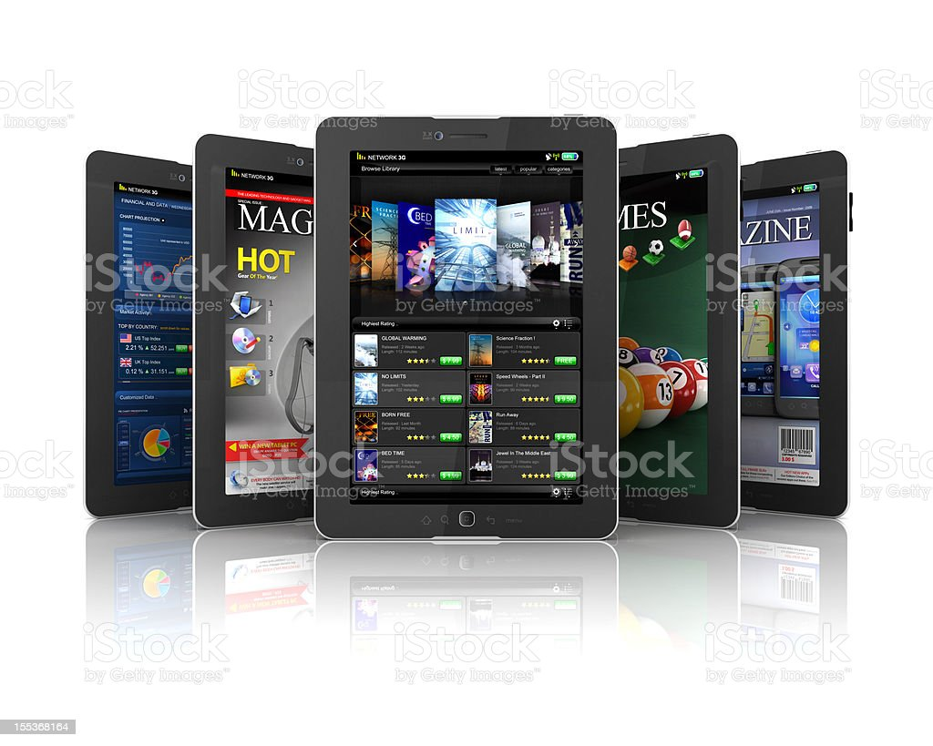applications on Tablet PC stock photo