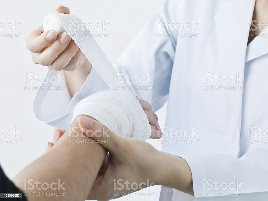 Apply a bandage stock photo
