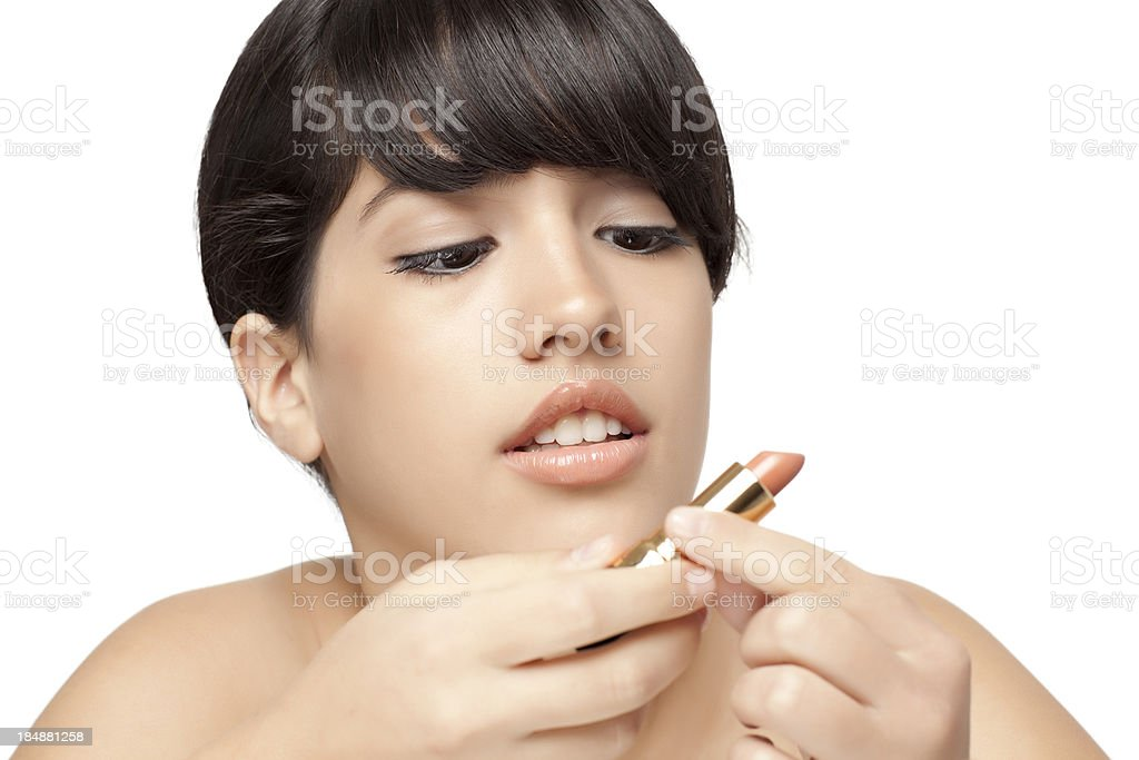 Apply Lipstick. stock photo