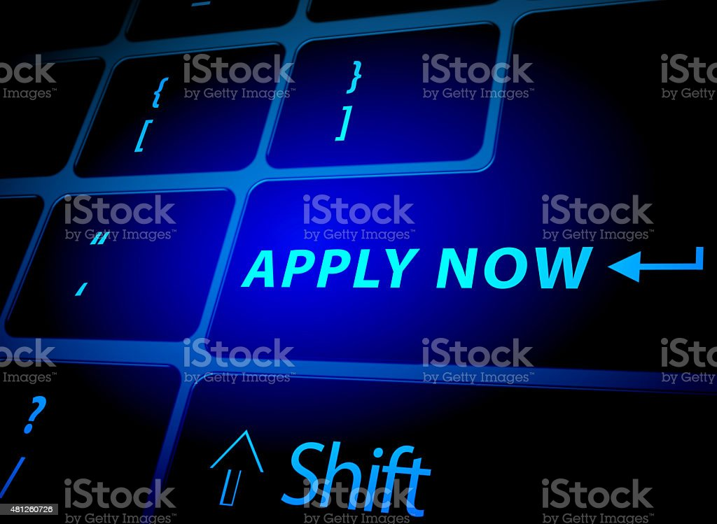 Apply now button on computer keyboard stock photo