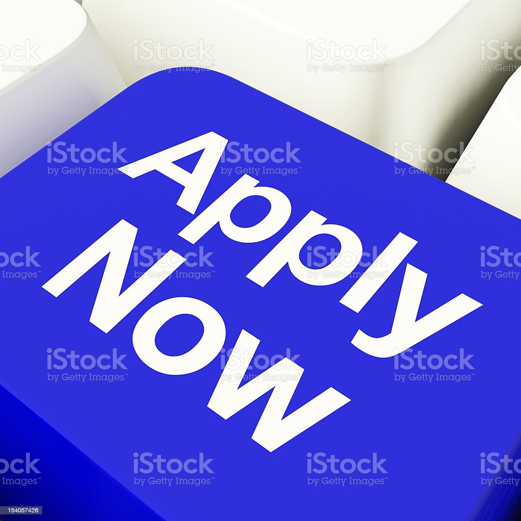 Apply Now Computer Key In Blue For Work Application royalty-free stock photo