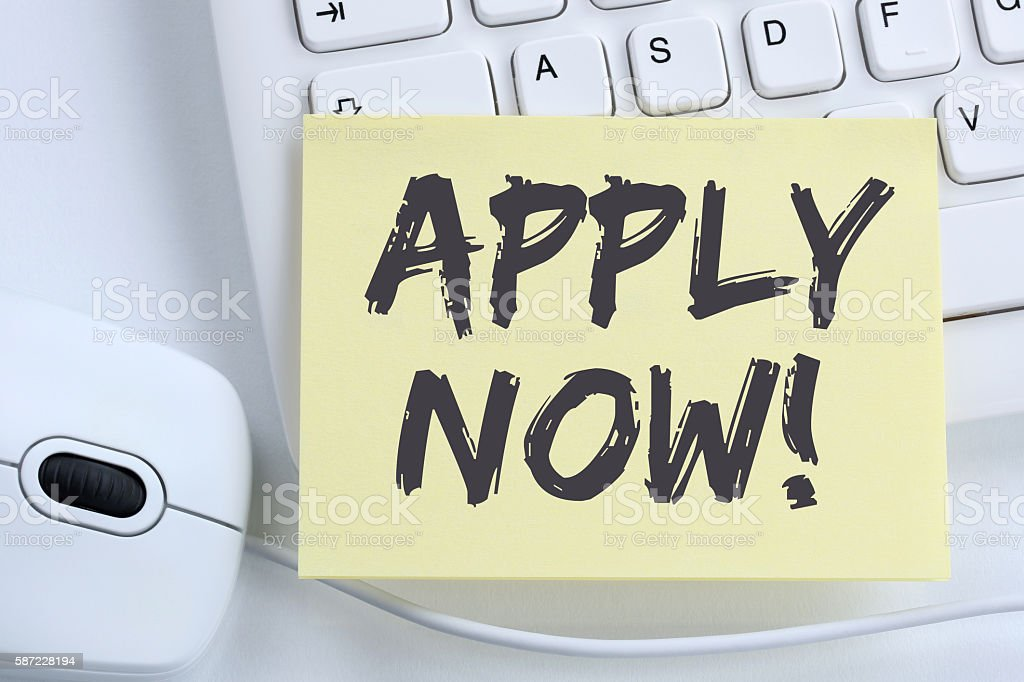 Apply now jobs, job working recruitment employees business concept stock photo