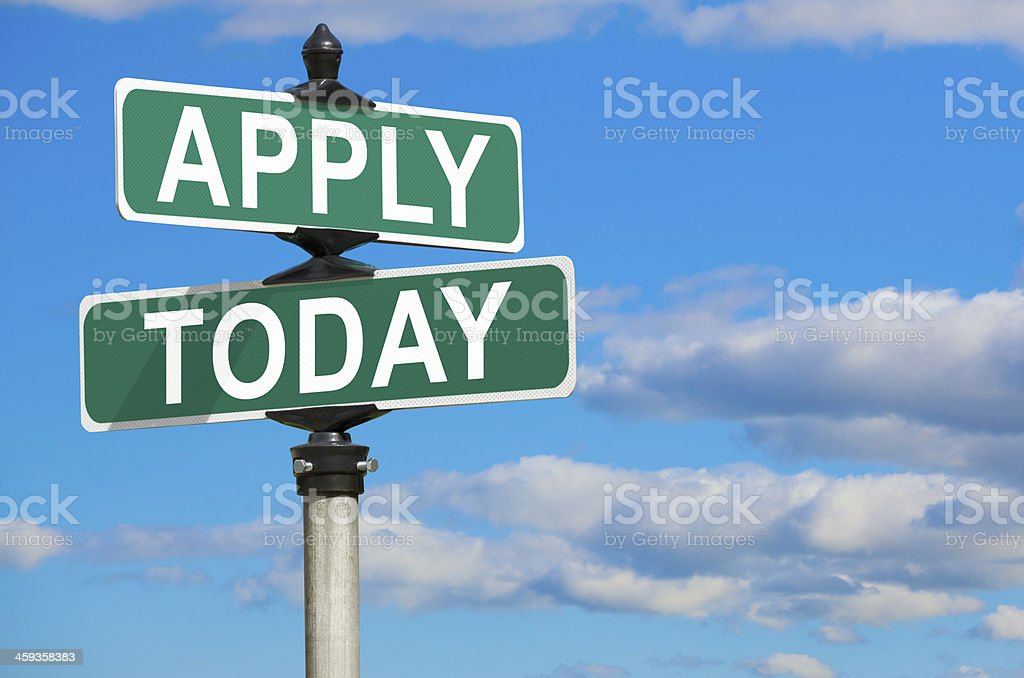Apply Today Street Sign stock photo