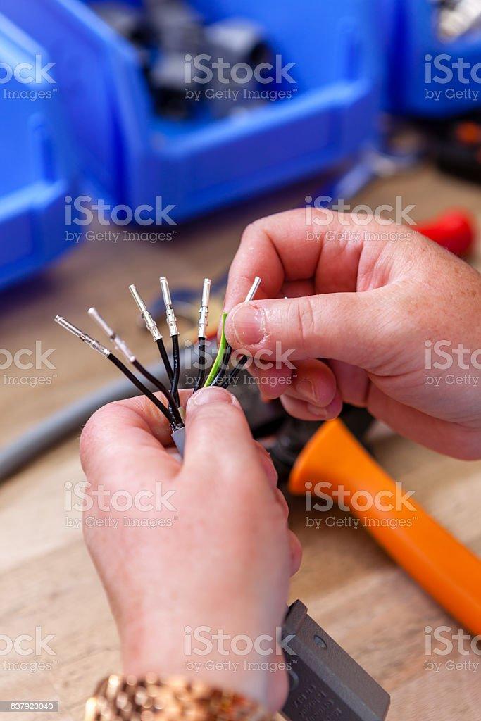 applying ferrules stock photo
