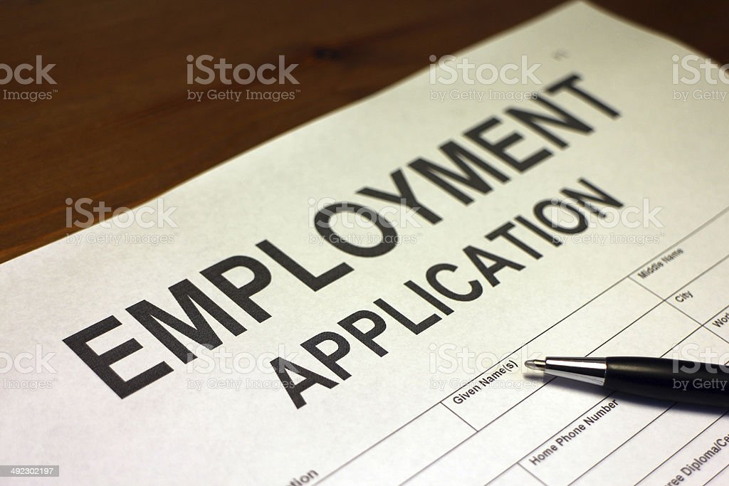Applying for Employment Form stock photo