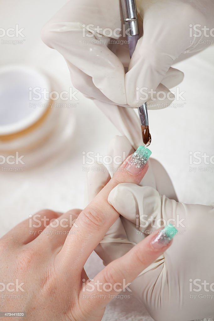 Applying gel stock photo