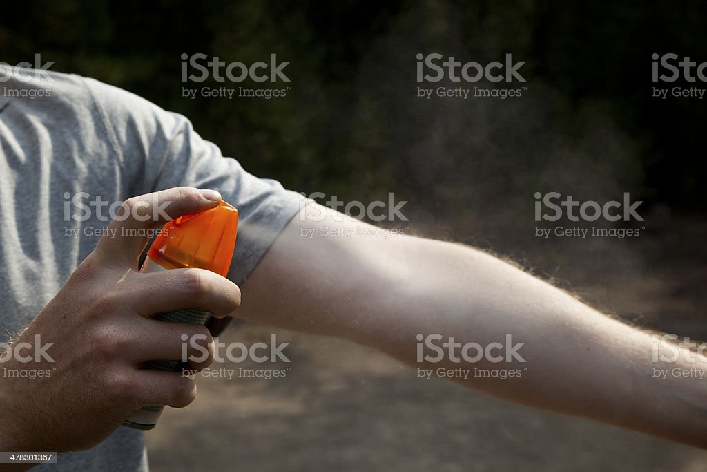 Applying Insect Repellent stock photo