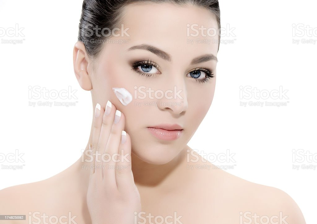 applying moisturizer royalty-free stock photo