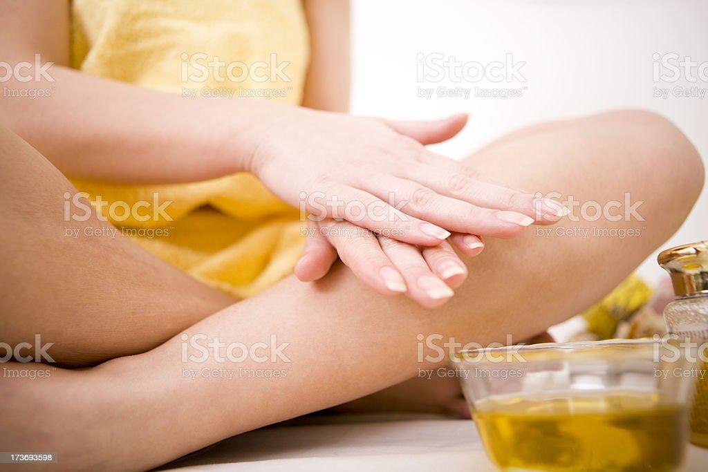 Applying oil massage stock photo
