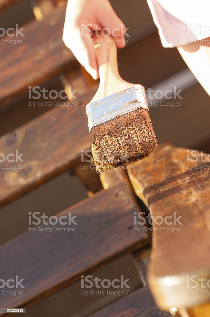 Applying wood stain royalty-free stock photo