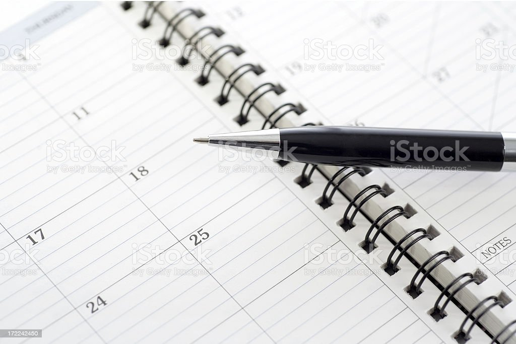 Appointment Book Calendar and Pen royalty-free stock photo