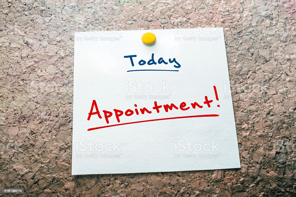 Appointment Reminder For Today On Paper Pinned On Cork Board stock photo