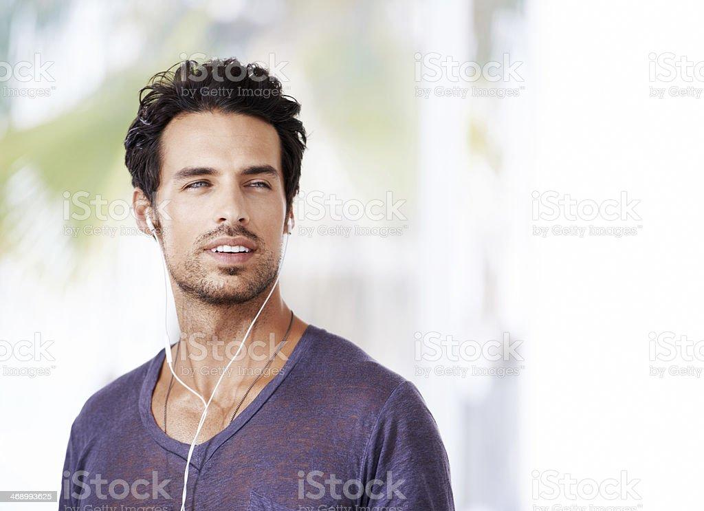 Appreciating his favorite music stock photo