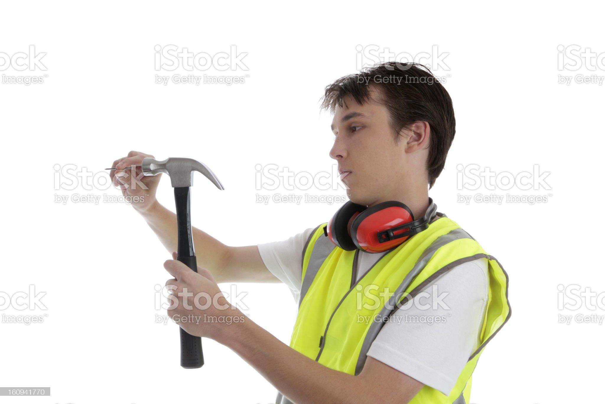 Apprentice carpenter builder repairman royalty-free stock photo