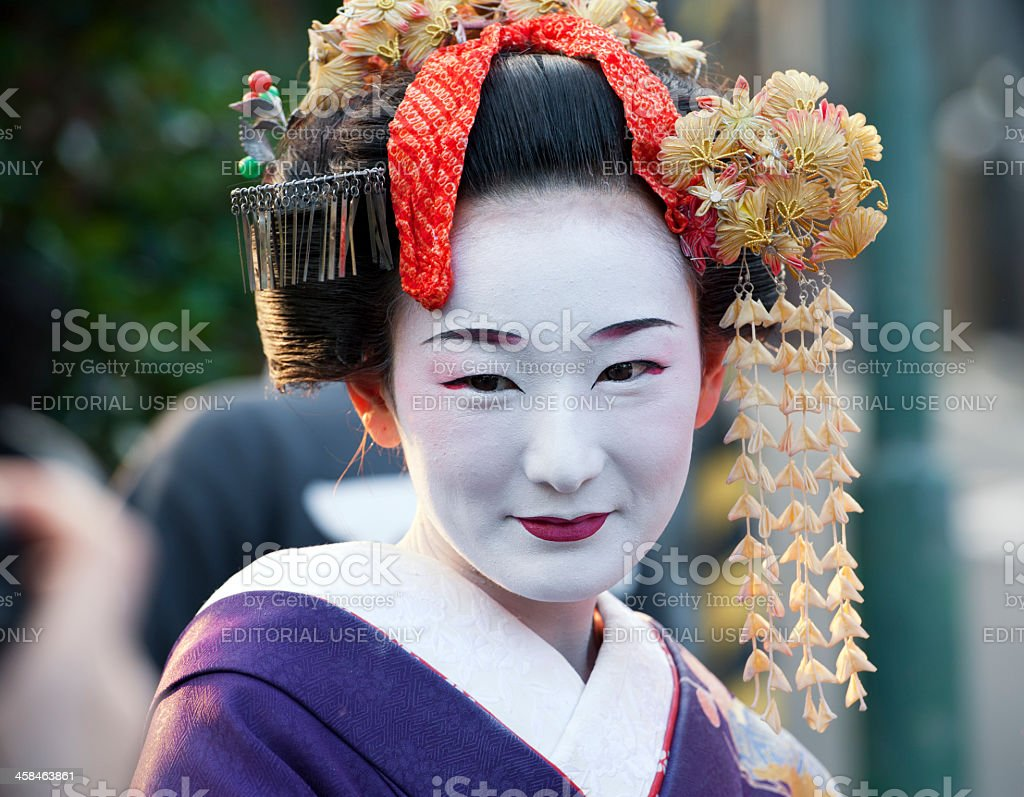 Apprentice geisha or maiko in the streets of Kyoto,Japan stock photo