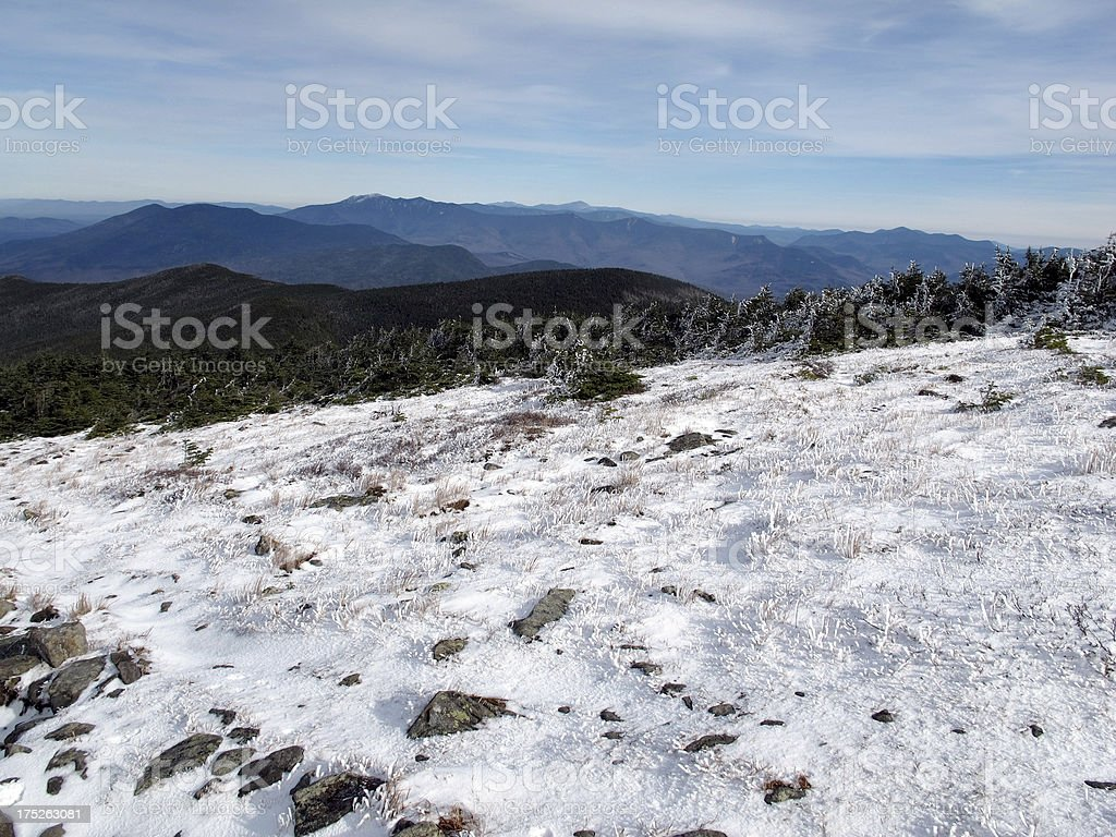 Approach to Moosilauke Summit, Kinsman and Franconia Ranges in Background stock photo
