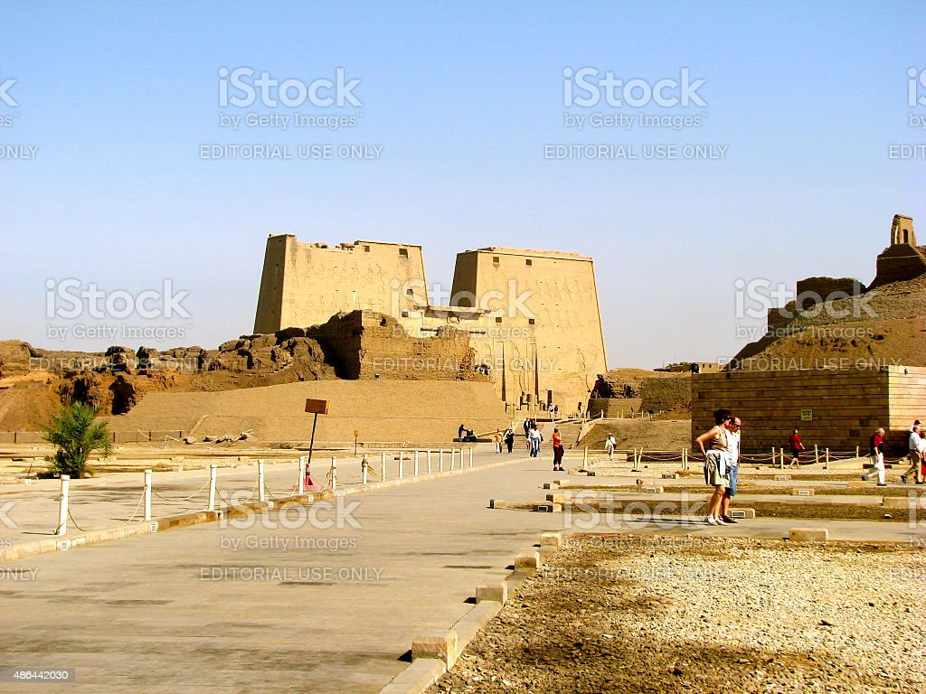 Approach to the Temple of Horus at Edfu stock photo