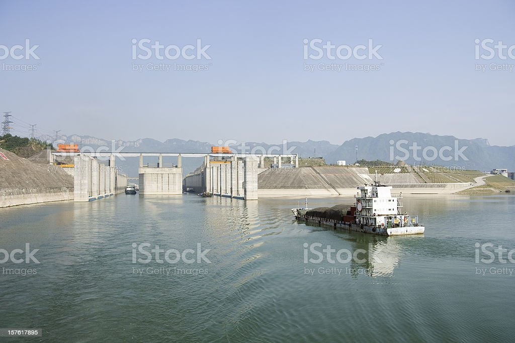 Approaching 3 Gorges Locks stock photo