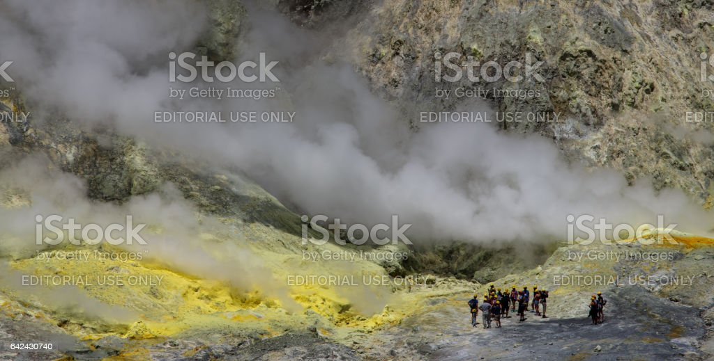 Approaching a volcano vent stock photo