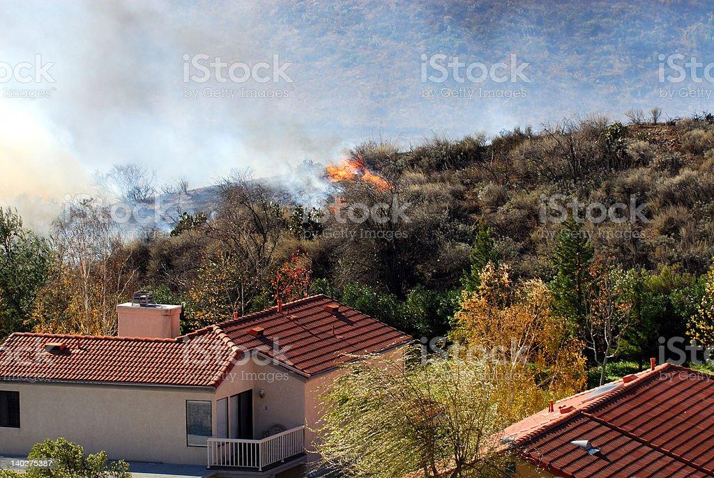 Approaching Brushfire stock photo