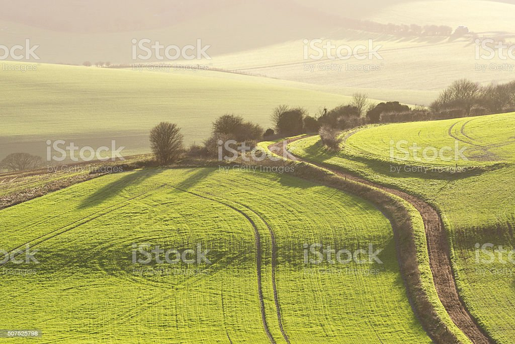 Approaching dusk on the South Downs stock photo