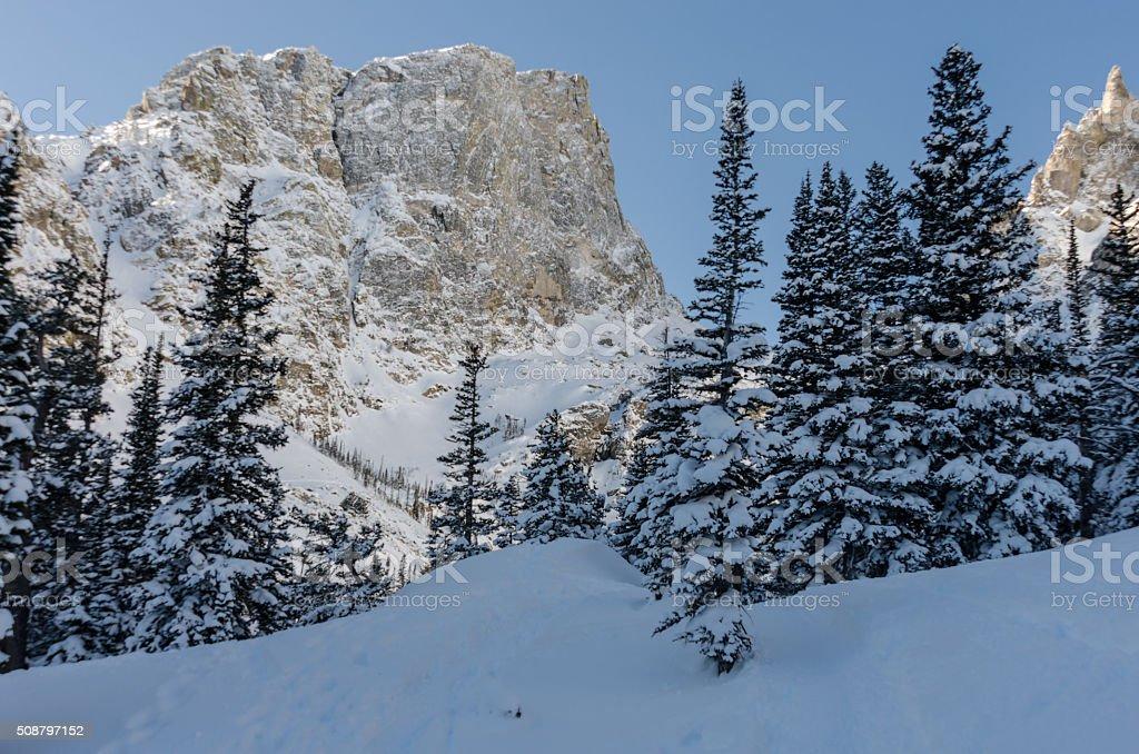 Approaching Emerald Lake in Winter stock photo