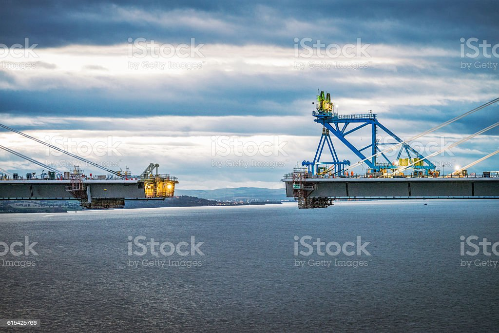 Approaching final connection of the Queensferry Crossing over th stock photo