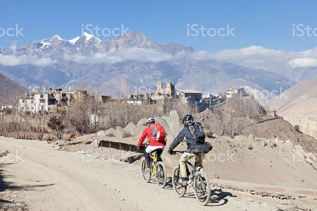 Approaching Jharkot, Nepal. stock photo
