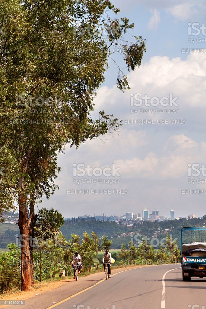 Approaching Kigali on the RN2 stock photo