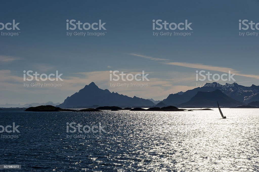 Approaching Lofoten stock photo