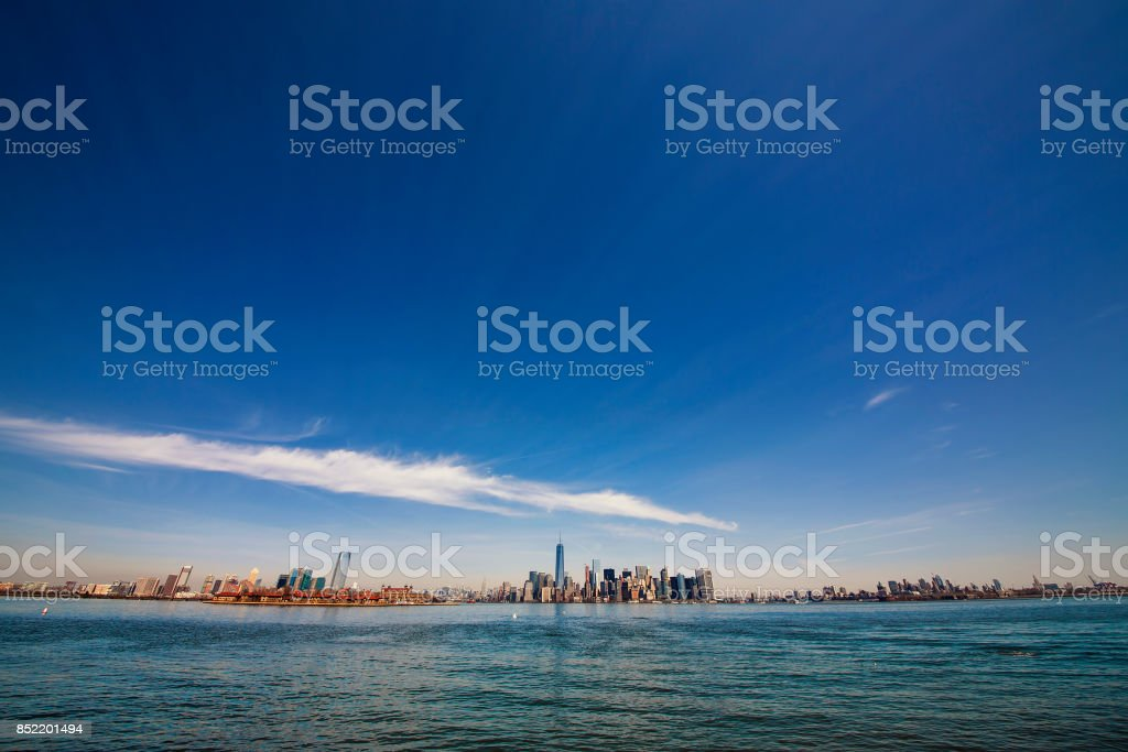 Approaching Manhattan, New York, from the South stock photo