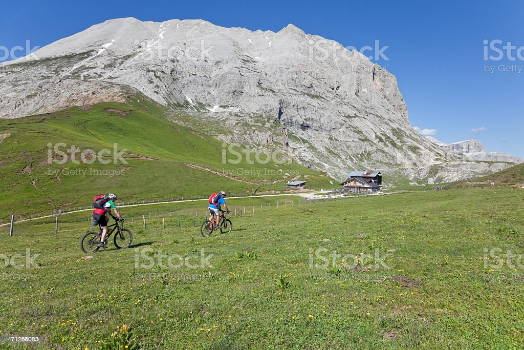 Approaching mountain lodge, Dolomites royalty-free stock photo