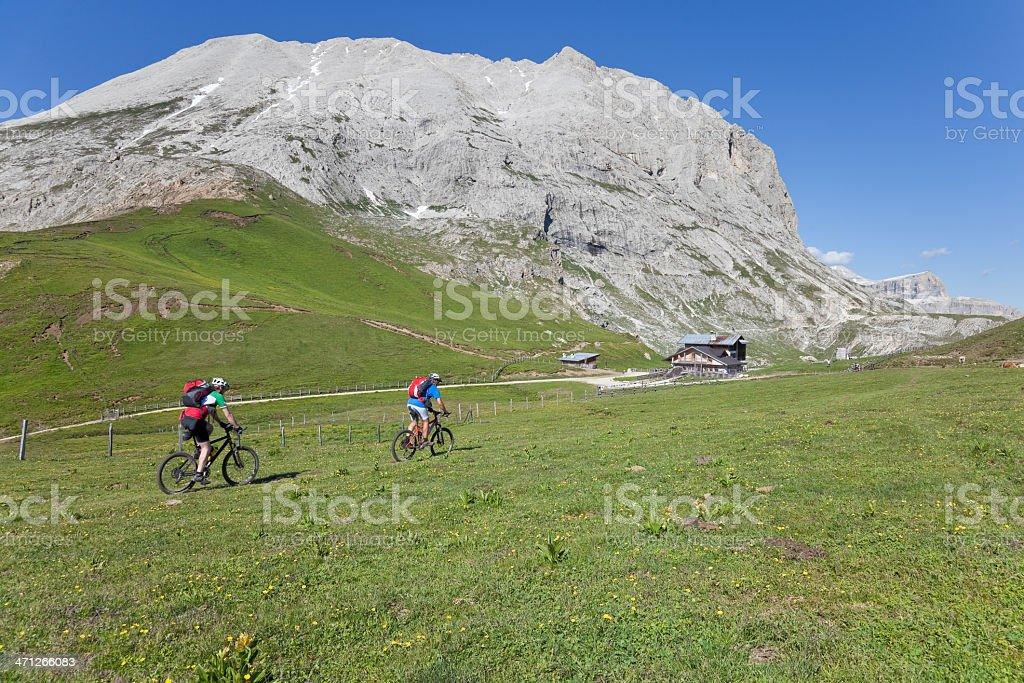Approaching mountain lodge, Dolomites stock photo