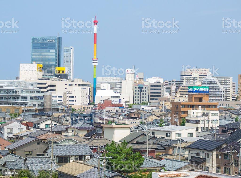 Approaching Niigata train station in Japan stock photo