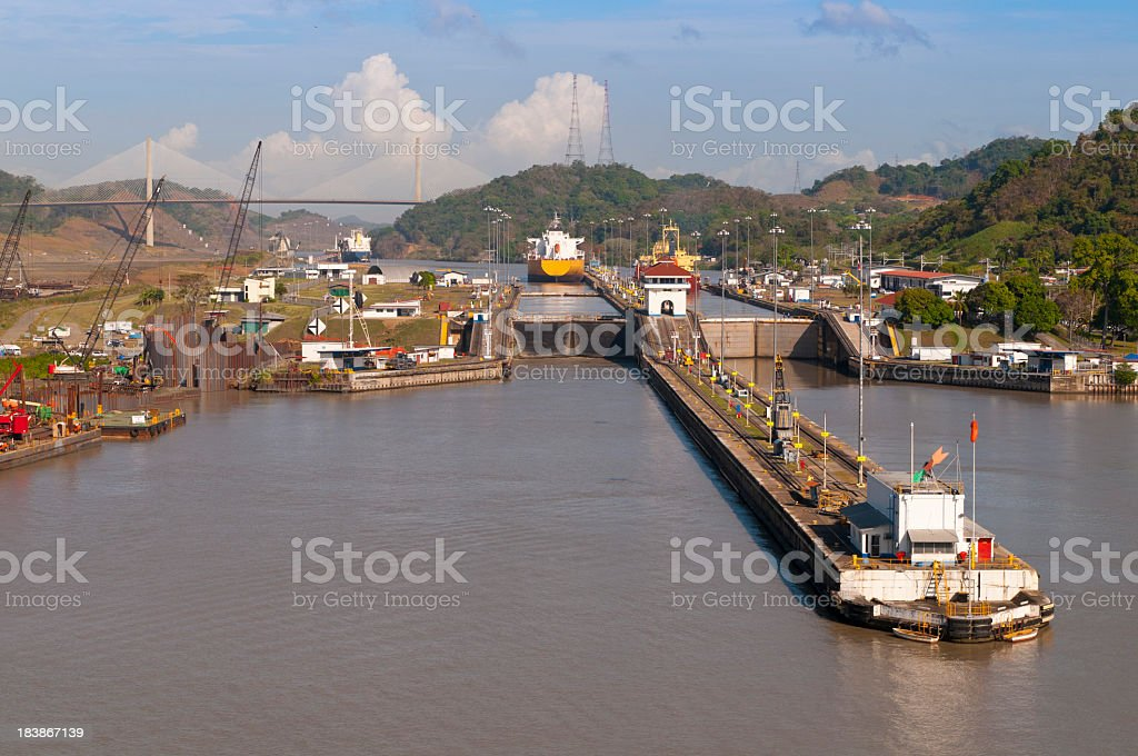 Approaching Pedro Miguel Locks of the Panama Canal stock photo